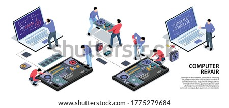 Laptop computer tablet smartphone repair support service isometric infographic horizontal banner with software upgrade installation vector illustration  Stock photo ©