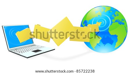 Laptop computer uploading or downloading files to the internet represented by globe.