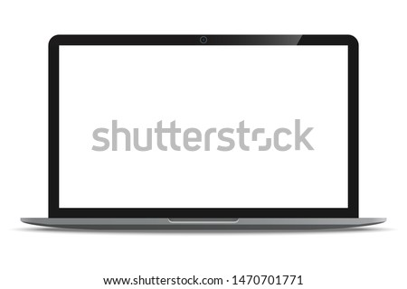 Laptop computer with blank white screen realistic icon for mockup user interface design isolated on white background. Vector illustration