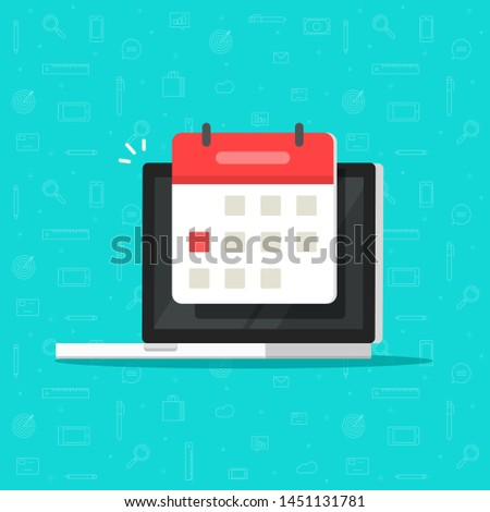 Laptop computer with calendar date or deadline event vector icon isolated flat cartoon