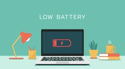 Laptop computer with low battery icon on screen, flat design vector illustration