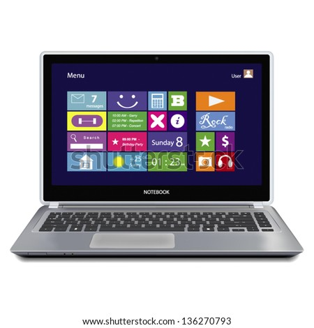 laptop computer with metro