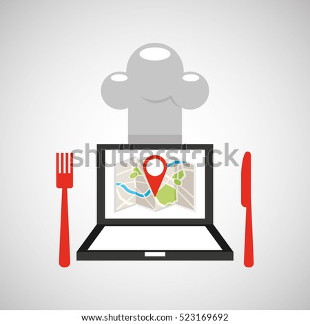 laptop delivery food app vector
