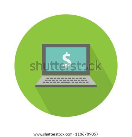 laptop dollar sign and symbol, online shopping concept - laptop illustration