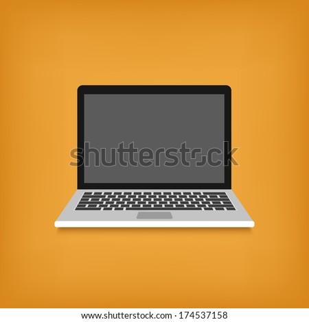 laptop flat design style icon. vector illustration