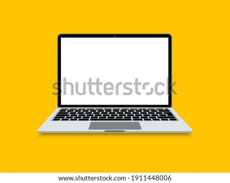 Laptop flat. Opened computer screen with keyboard. Mockup modern laptop with blank screen. Vector illustration.