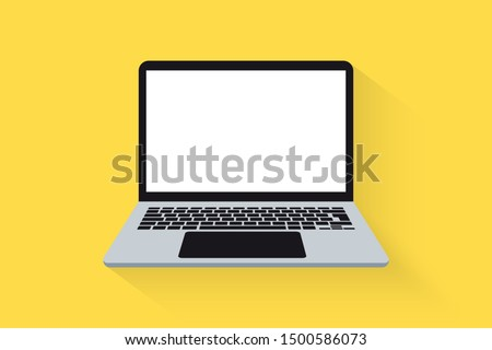Laptop front view. Vector Laptop flat illustration. Computer.  laptop computer with empty screen, blank copy space on computer.