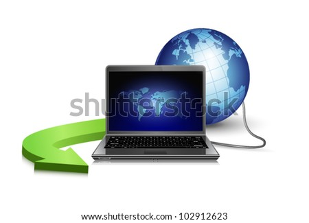 laptop, globe and arrow. concept vector illustration