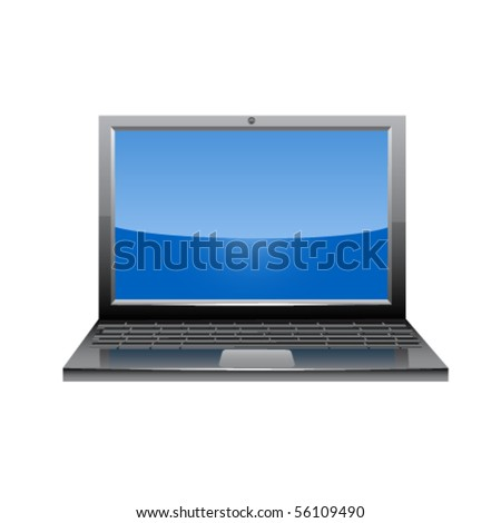 Laptop glossy icon. Vector