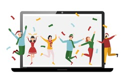 Laptop icon and happy people Merry Christmas and Happy New Year, video or web conference 2021. Quarantine, online party. Vector illustration.