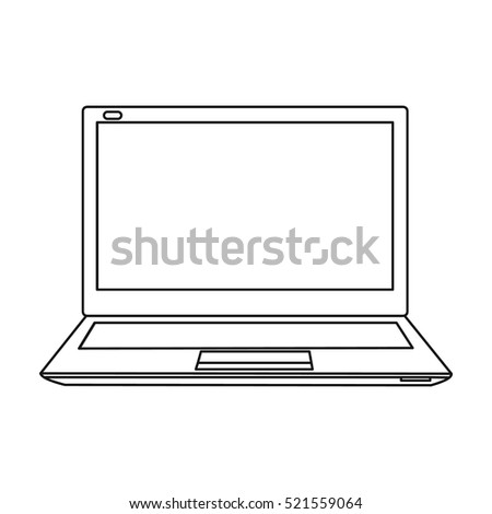 Laptop icon in outline style isolated on white background. Personal computer symbol stock vector illustration.