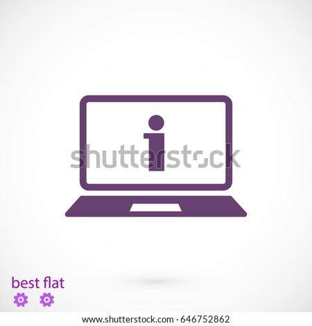 laptop icon, stock vector illustration flat design style