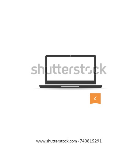 Laptop icon vector isolated on white background. Trendy laptop icon in flat style. Template for app, ui, logo and ux.Icon laptop for your web site, office poster and placard. Modern laptop icon,EPS 10