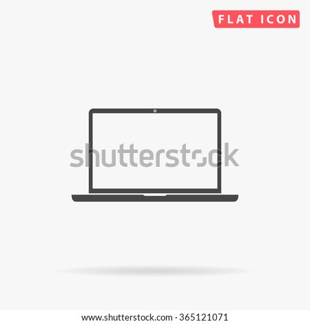 Laptop Icon Vector. Simple flat symbol. Perfect Black pictogram illustration on white background.