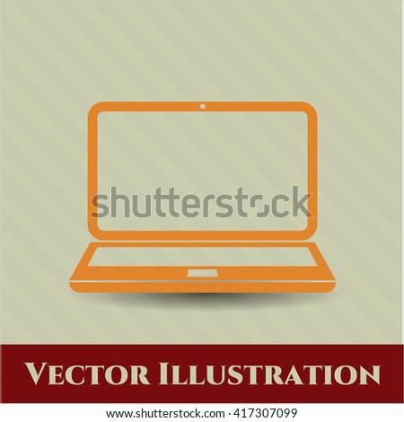 laptop icon vector symbol flat eps jpg app web concept website