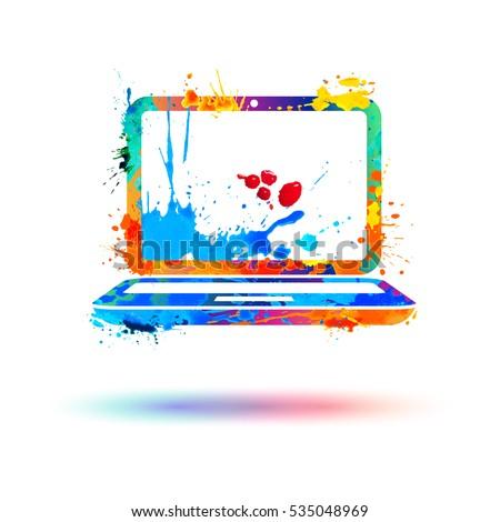 laptop icon vector watercolor