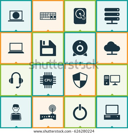 laptop icons set collection of