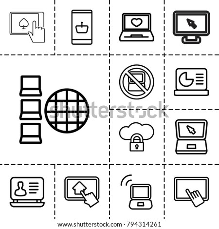 laptop icons set of 13
