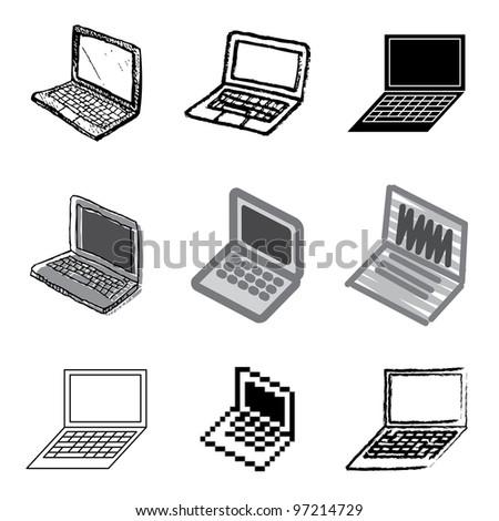 laptop icons vector set