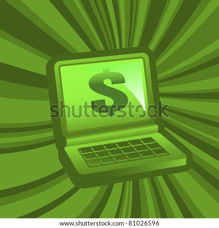 laptop in front view with dollar symbol