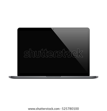 laptop in macbook style black color with blank screen isolated on white background. stock vector illustration eps10