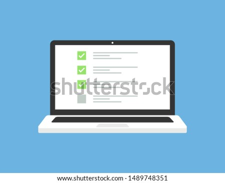 Laptop in trendy flat style with checklist on screen. Exam form. Questionnaire form test checklist survey concept. Notebook with checklist on display. EPS 10