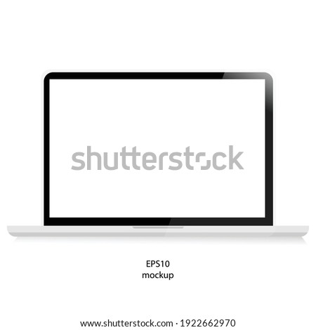 laptop isolate blank screen display mockup vector, mockup display , monitor isolate white background vector,Mock up of realistic Laptop. on white background vector EPS 10.