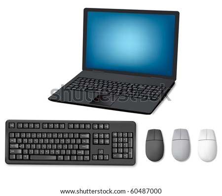 Laptop, keyboard and mouse. Illustration for your design project. Vector