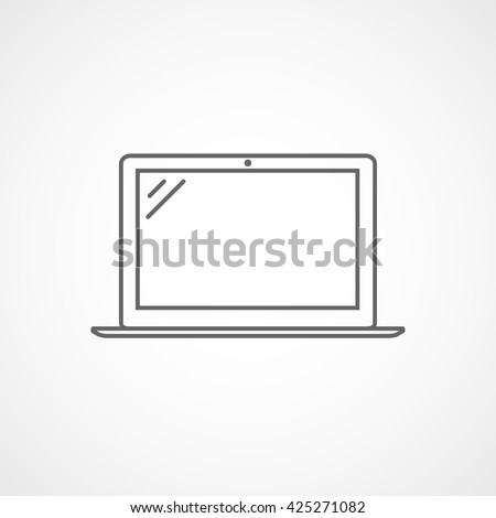 Laptop Line Icon On White Background