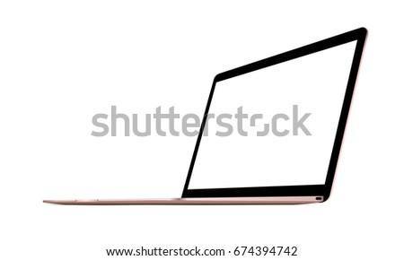 laptop macbook pink mockup with