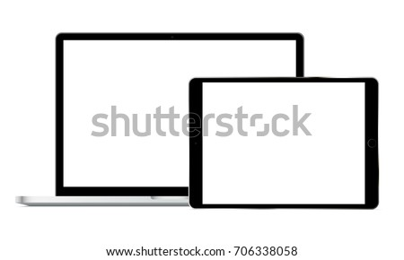 Laptop Macbook Pro and tablet iPad Pro with blank screens isolated on white background. Modern electronic Apple devices mockups - front view. Vector illustration