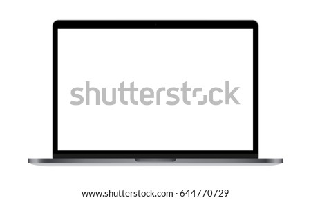 Laptop Macbook Pro with blank screen isolated. Mockup to showcase responsive website design. Vector illustration