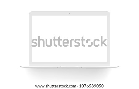 Laptop mock up front view, isolated on white background. Vector illustration