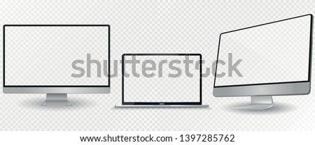 Laptop mockup with blank screen. Computer mockup set.