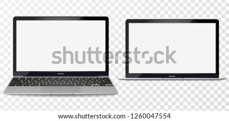 Laptop mockup with blank screen - front view. Open Laptop with blank screen isolated on transparent background