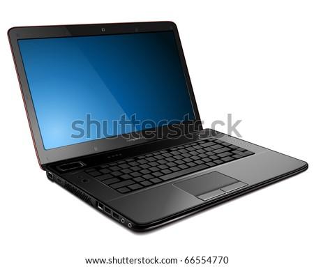 Laptop, modern computer detailed vector illustration.