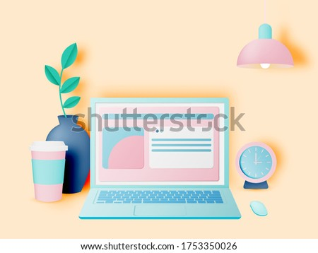 Laptop on the desk in the house for work from home with pastel and paper art vector illustration