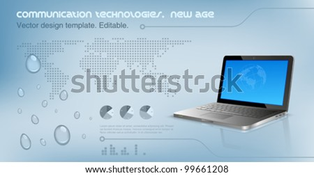 Laptop on the glossy hi-tech background.  World map on the background. Future technology concept. Design template. Vector. Editable.