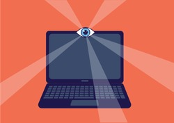 Laptop on the site of the camera is the human eye. Observing big brother, data protection, concept of spying, cyber attack.