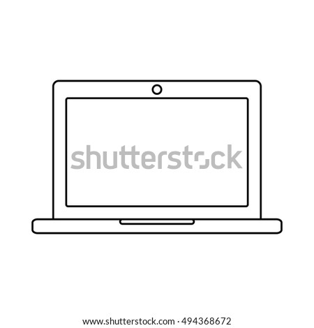 Laptop outline icon on the white background. Vector design