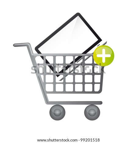 laptop over shopping cart isolated over white background. vector