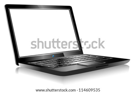 Laptop PC Computer on white background - 3D Laptop with space for your message