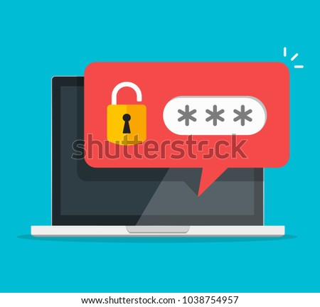 Laptop PC. Red unlocked password notification, flat style design or pc screen with lock and password