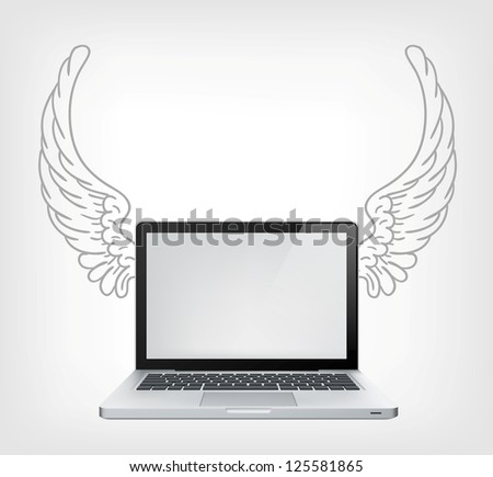 Laptop PC with Wings Isolated on Grey Gradient Background. Vector.