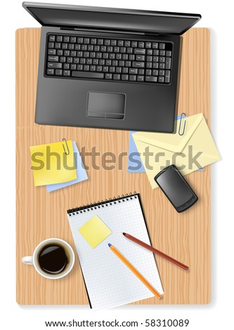 Laptop, phone and office supplies laying on the brown board. Vector.