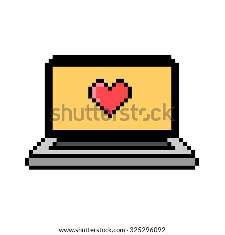 laptop pixel art 8 bit style