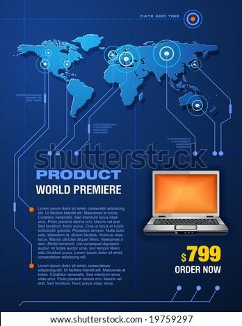 Laptop promotion brochure - stock vector