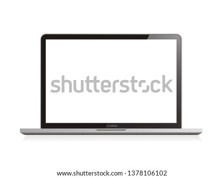 Laptop realistic computer in mockup style. Laptop isolated on a white background. Vector illustration