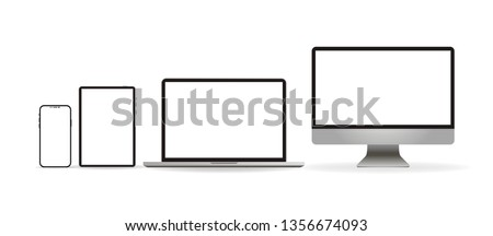 Laptop realistic. Device in mockup style. Set realistic vector devices on a white background. vector illustration