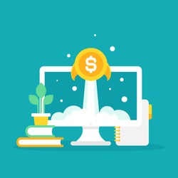 laptop screen with golden dollar coin as rocket. Money shuttle on blue background. freelancer, designer, writer job. Income growth. Financial success of business start up or remote job